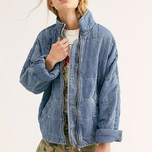 Free People Dolman Quilted Denim Zip Up Jacket